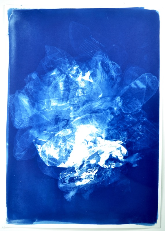 rubbish all washed up cyanotype