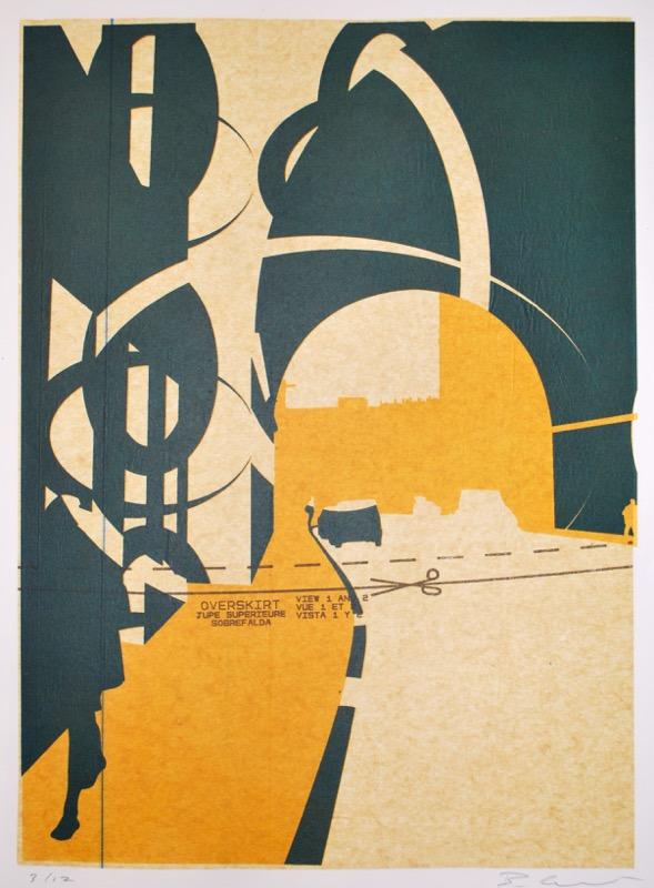 Edinburgh Arch (screenprint on sewing pattern 53 x 38 cms)