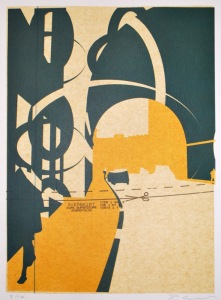 Edinburgh Arch (screenprint on sewing pattern 53 x 38 cms)