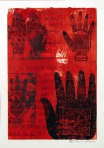 Mehndi Hands - red (unique screen print on monotype)