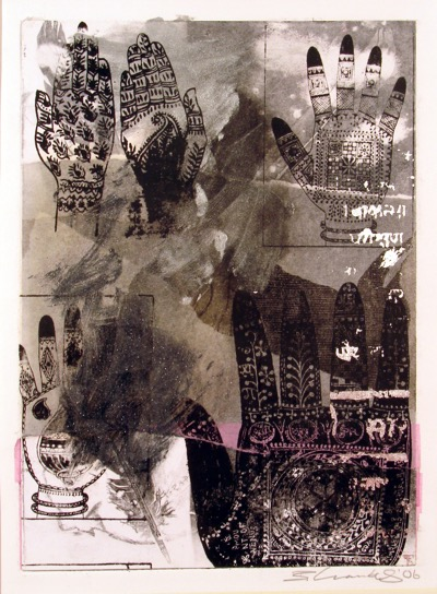 Mehndi Hands - black (unique screen print on collage)