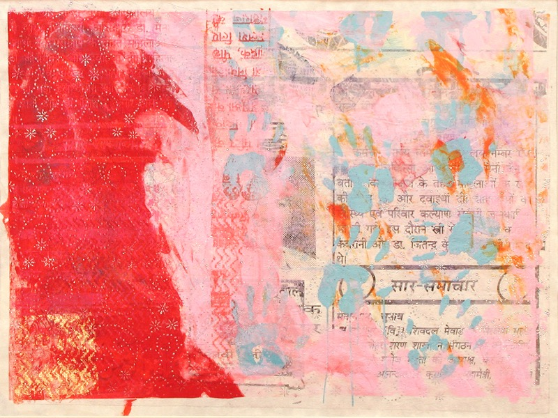 Hand Prints - Pink Wall (unique screen print on collage 52 x 38 cms)