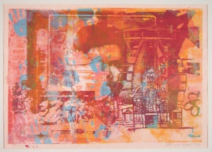 Temple (unique screen print on collage 60 x 38 cms)