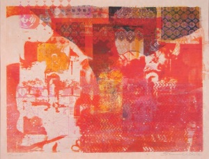 Tourist - orange (unique screen print on collage 52 x 38 cms)