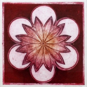 Indian Flower Motif XIII (Collograph Print 35 x 35cms)
