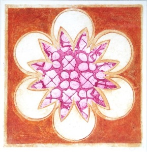 Indian Flower Motif III (Collograph Print 35 x 35cms)