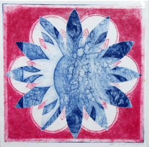 Indian Flower Motif I (Collograph Print 35 x 35cms)