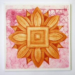 Indian flower motif collograph