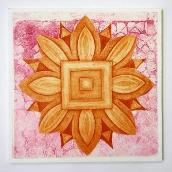 Indian flower motif collograph