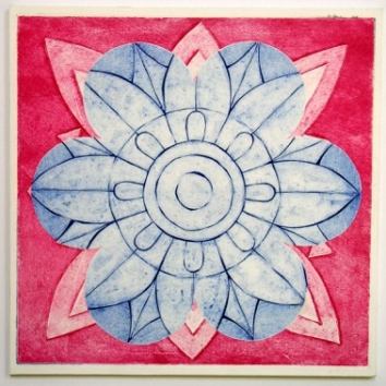 Indian Flower Motif XII (Collograph Print 35 x 35cms)