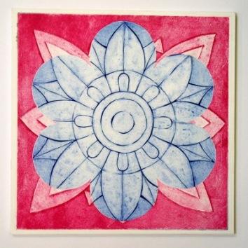 Indian Flower Motif XII (Collograph Print 35 x 35cms)