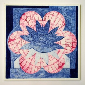 Indian Flower Motif XI (Collograph Print 35 x 35cms)