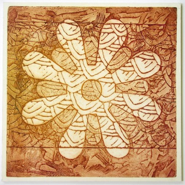 Indian Flower Motif IX (Collograph Print 35 x 35cms)