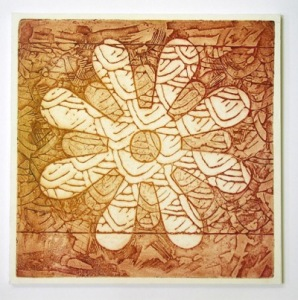 Indian Flower Motif IX (Collograph Print 35 x 35cms)