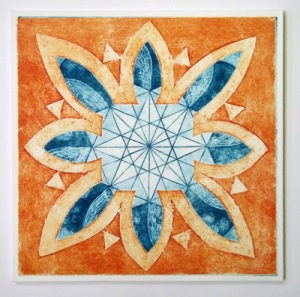 Indian Flower Motif VIII (Collograph Print 35 x 35cms)