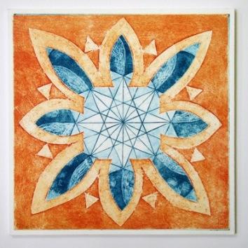 Indian Flower Motif VIII (Collograph Print 35 x 35cms)
