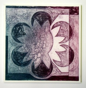 Indian Flower Motif VII (Collograph Print 35 x 35cms)
