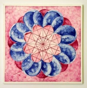 Indian Flower Motif VI (Collograph Print 35 x 35cms)