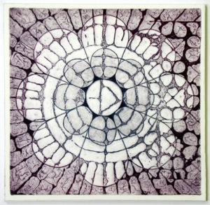 Indian Flower Motif V (Collograph Print 35 x 35cms)