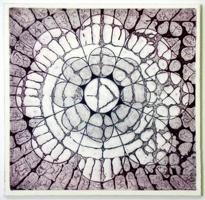 Indian Flower Motif V (Collograph Print 35 x 35cms)