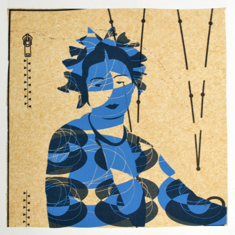 Madame le Monnier (screenprint on sewing pattern 20 x 20 cms)