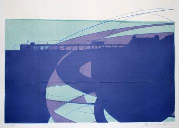Penarth Pier (screenprint on sewing pattern 53 x 38 cms)