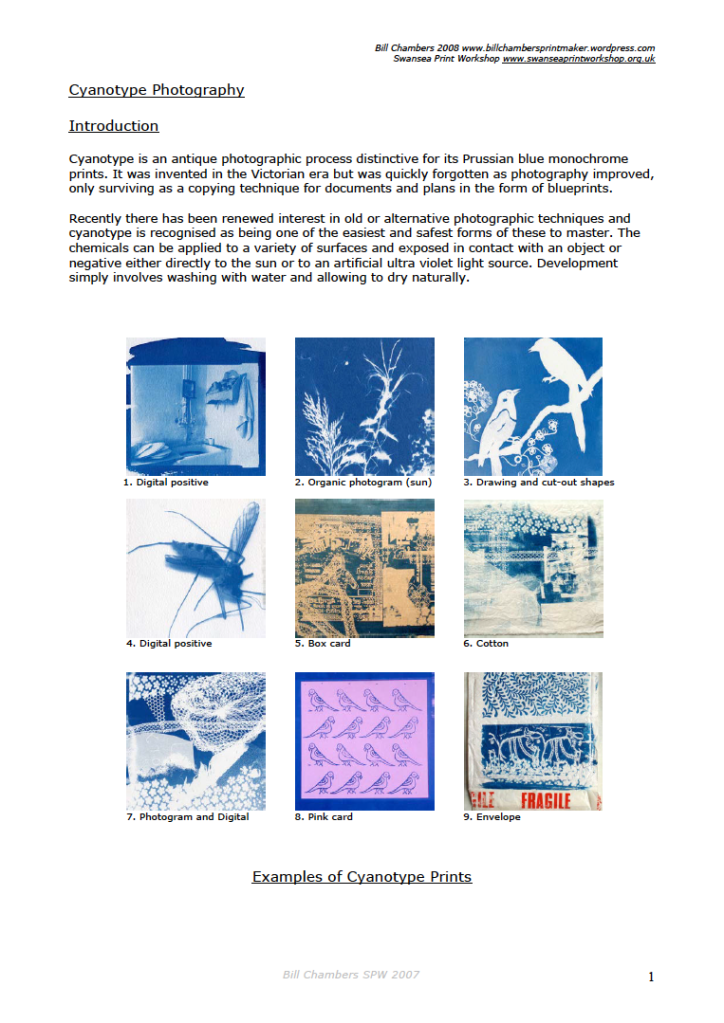 Cyanotype Notes