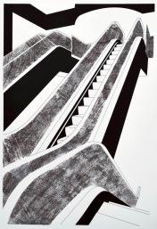 Escalator (Screen Print/Photocopy transfer 42 x 29 cm)